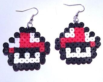 Earrings with mushrooms in hama beads