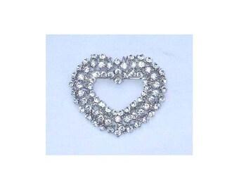 Vintage Signed JHS Rhinestone Heart Brooch / Pin
