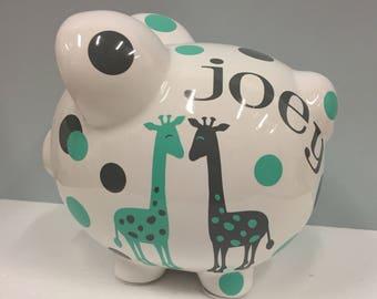 Personalized Piggy Bank-giraffe piggy bank- large piggy bank- Giraffe-girls personalized piggy bank-new baby gift-monogrammed piggy bank-boy