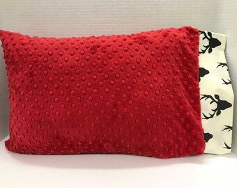Childrens Pillow, Toddler Pillow Case w/ Pillow, Red Minky Dot, Black Buck, Boy Gift, Toddler Gift, Travel Pillow, Personalized Pillow