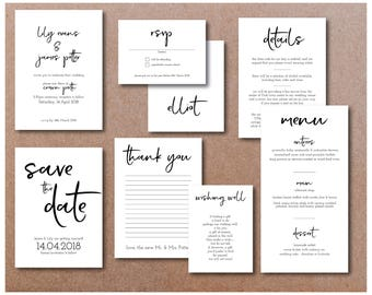 Printable Wedding Invitation Set - Invitation, RSVP, Save the date, Wishing Well, Thank you Card, Menu and Place Cards Typographic Kit