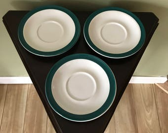 Set Of Three (3) Touch Of Elegance* White With Green Border* Replacement Saucers*