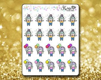 Luna Celebrate Stickers - Planner Stickers Erin Condren Life Planner Cute Emoji Character Girl Stickers ECLP Stickers Happy Planner