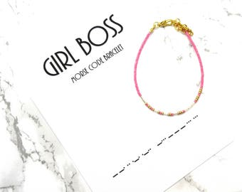 GIRLBOSS morse code bracelet, morse code jewelry, minimalist beaded bracelet, modern simple graduation bracelet gift, girlboss jewerly