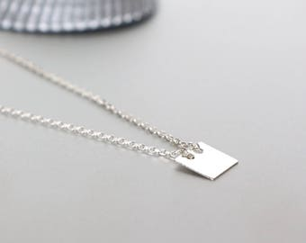 Sterling Silver Necklace, Silver Charm Necklace, Silver necklace, Silver Chain Necklace, 925 Silver Necklace, Silver Square Charm, (NS14)