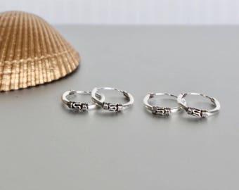 Sterling Silver Ear Hoops, 14mm Bali Hoops, Oxidized Silver Hoop, Ethnic Earrings, Minimal Jewelry, Piercing Hoops Gift Ideas,  (E117)