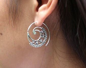 Silver Wire Hoops, Indian Ear Hoops, Ethnic Piercing Hoops, Sterling Silver Hoops, Minimalist Hoops, Gift Earrings, (E130)
