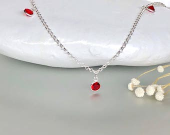 Silver Anklet, Red crystal charms anklet, Minimalist Silver Anklet, Simple Anklet, Beach Wear, Bohemian Anklet, Chain Anklet, AS129