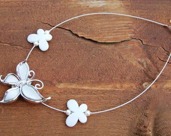 stunning white acrylic butterfly on wire wrapped necklace