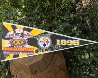 Pittsburgh Steelers 1995 SuperBowl XXX AFC Champions Pennant Flag Banner