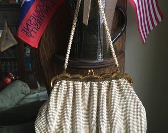 Whiting & Davis Co. Mesh Purse Vintage Metal Bead Chain Link White Evening Hand Bag