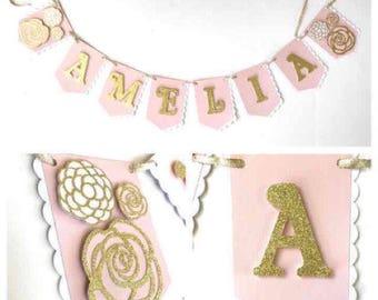 Floral Name Banner, Girl Name Banner, Floral Banner, Gold Glitter Floral Name Banner, Little Girl Party Decor, First Birthday Banner, Banner