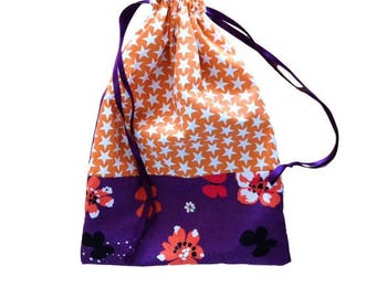sample printed cotton DrawString bag orange and purple flowers and stars