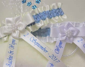 Personalised Bridal/Wedding Garter. Ivory or White satin with blue trim. Personalised with names & date.