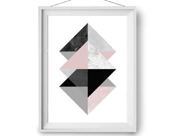 Mid Century Geometric Art, Pink Print, Scandinavian Poster, Modern Print, Marble Print, Wall Decor, 4x6 in, A2, 30x40 cm Art, Print Avenue
