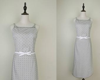 Grey Vintage Spaghetti Strap Dress Flower-Embroider Print Size S-M