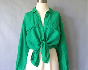 Vintage green silk button down minimalist blouse/shirt/top women's size S/M/L