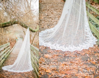 Cathedral Wedding Veil #72, Lace Trim Cathedral Wedding Veil, Lace wedding veil, Cathedral Veil, One Tier Cathedral Veil, Wedding Veil