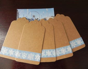 5 labels kraft 9 x 4.5 cm with decorative kraft tape snowflakes