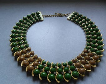 IMAN Designer Egyptian Revival Collar Necklace~Green & Tan Beads~Clear Rhinestones~Gold Tone
