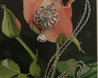 Chanel Button and Swarovski Charm Necklace
