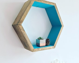 Large Hexagon shelf, hexagon shelves, honeycomb shelf, honeycomb shelves, floating hexagon shelf, floating honeycomb shelves, boho, hexagon