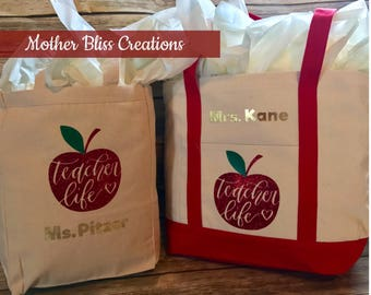 Personalized Teacher Tote Canvas Bag | Teacher Appreciation | Teacher Valentines Day Gift | Tracher Gift