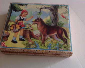 Lovely Vintage Wooden Puzzle Blocks Fairy Tale