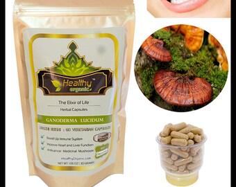 Premium Organic Lingzhi Reishi Herbal Caps - The Elixir of Life : Herb of Immortality ; GANODERMA LUCIDUM (300 Veggie Caps) -  Anti-Aging !