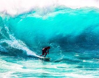 Surfer Photography - Ocean - Blue Wall Art - Blue Home Decor - Sea Photography - Sea Photo - Surfing - Surfer - Colourful Wall Art