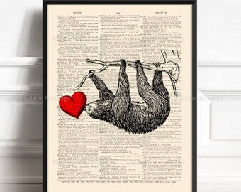 Sloth, Brother Poster Gift, Best Aunt Gifts, Sloth Gift For Girls, Sloth Baby Gift, Kids Bathroom, 3rd Anniversary Gift, Friendsgiving  380