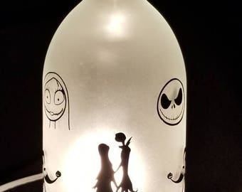 Handmade Jack and Sally Nightmare Before Christmas Wine Bottle Lamp 750 ml size