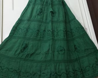 Maxi Skirt,Handmade,Cotton and Lace Embroidered Gypsy Boho Hippie Lined Casual Festival tiered Skirt Solid Color U.K. 8 10 12 14 16 18 20