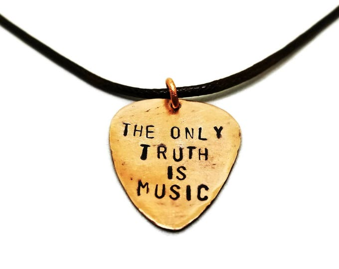 The Only Truth Is Music Hand Stamped Copper Guitar Pick Necklace, Gift for Musicians, Guitar Pick Pendant, Unique Birthday Gift