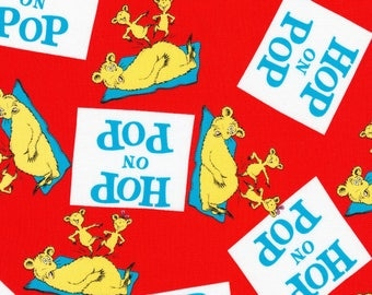 Dr Seuss Hop on Pop Red Fabric from Robert Kaufman quilting cotton fabric