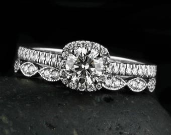 GIA Certified Diamond Engagement Ring - Halo Diamond Ring - Leaf Milgrain Wedding Band