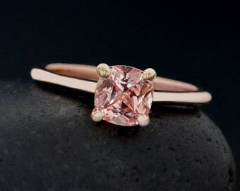 Peach Sapphire Engagement Ring - Chatham Lab Created - Prong Set