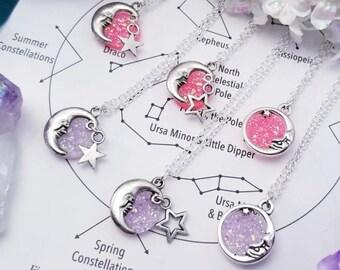 Druzy Moon Necklaces