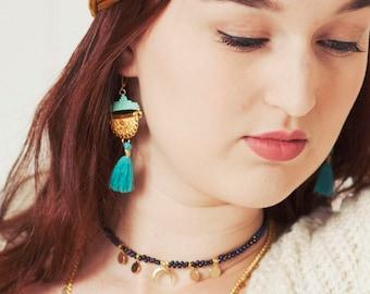Boucles d'oreilles ethniques, Boucles d'oreilles perles tissées turquoise, boucles d'oreille pendantes, boucles d'oreilles pompon,