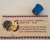 My Favorite Thimble Open Top Sewing Thimble by Chris Hanner & Company for Hand Sewing for Long Fingernails, Surface Grips for Needle Control