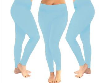 Light blue leggings, blue leggings, yoga leggings, women's leggings, baby blue leggings, women's gift, leggings, cotton leggings, light blue