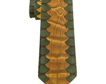 Green Dragon Scale Costume All Over Neck Tie
