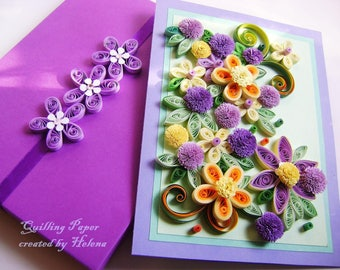 Quillind Floral card,Romantic quilling card,Quilled Paper Card,Quilled Wedding Gift,Paper flower gift in a box,Anniversary Quilled Card