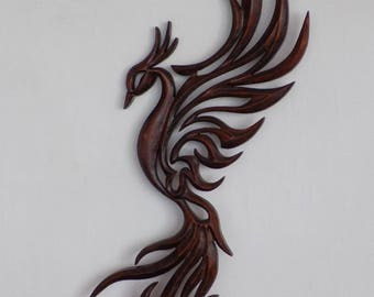 Phoenix, 15 inches Phoenix, Phoenix Carving Wall,  Phoenix bird, Handmade Phoenix, Wooden Phoenix bird, Wooden Phoenix