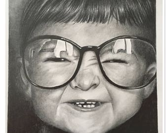 "Graphite pencil portrait ""glasses"""