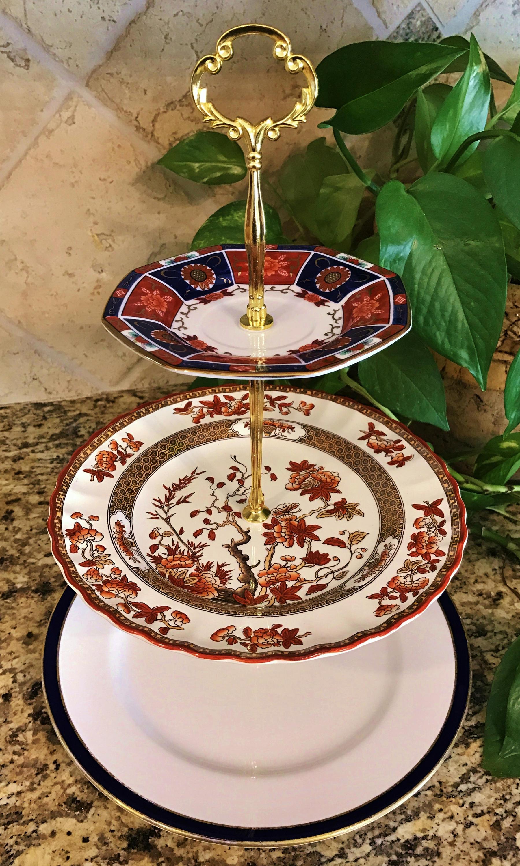 Three Tier Stand Jewelry Stand Vanity Stand Cake Plate Tray Mismatched & Three Tier Stand Jewelry Stand Vanity Stand Cake Plate Tray ...