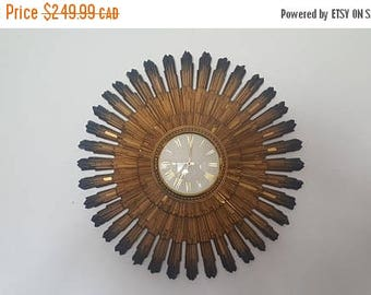 Vintage 60s Syroco Sunburst Clock - 23 Inches Diameter - Closed Face - Battery Operated - Excellent Condition
