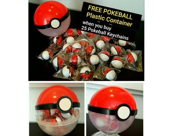 Pokeball Keychains Party Favors- Pokemon Themed Party- Pokemon Party Favors, Pokeball Party Favor.
