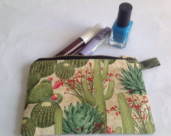 cactus fabric  handmade purse, pouch for change or lipstick