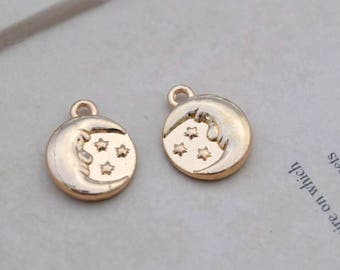 10 round moon star charms charm pendant pendants  (Z08)